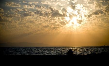 Sundown on the seaside of the eagean sea  center of izmir ,turkey