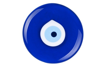 Evil eye amulet on white background protect from bad things using by turkish culture photo