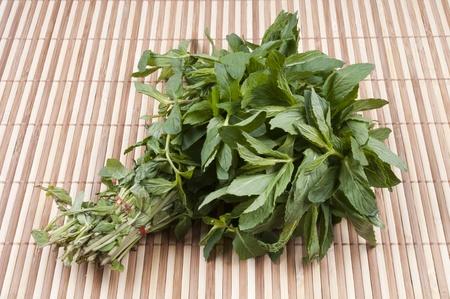 dozens: Dozens of mint on bamboo background