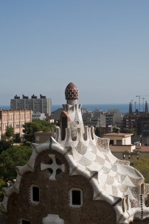 Mosaic house architecture on park guell barcelona spain