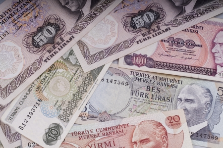 mixed  liras banknotes  old turkish lira around 1970s Stock Photo