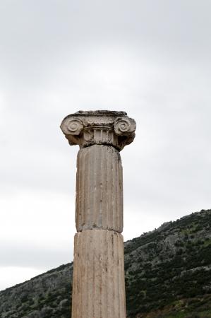 Old Pillar on the sky ephesus ancient ruin in turkey