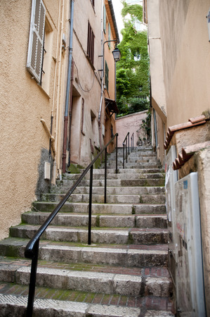 Narrow streets and strairs  Cannes France Stock Photo