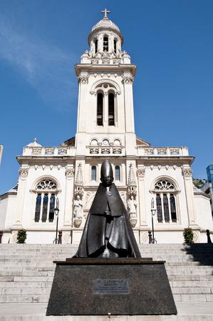 Old Church in Monaco Monte Carlo  and Saint Carlo Statue