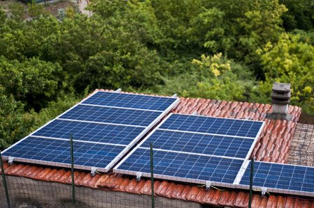 ecovillage: Solar Panel on the Roof in Eco-Village  Torri,italy