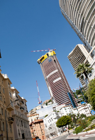 constraction: Skyscraper and Constraction crane view in Monaco , Monte Carlo