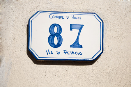the old road: Old Road sign in Vinci distinct italy Stock Photo