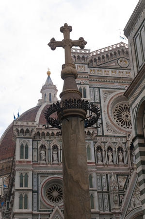 Old big cross and battistero building in Center of the Firenze italy Stock Photo