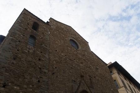 Stone building down view in Firenze centrum italy
