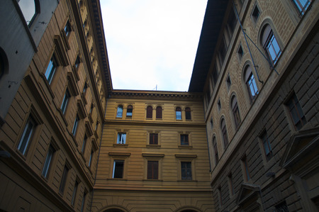 firenze: Old narrow historial houses squared shape in central of the firenze italy Stock Photo