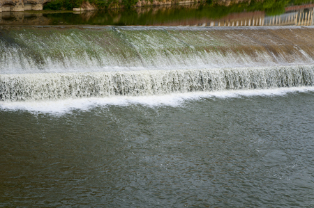 arno: Flowing rive area  flooding weir on the River Arno, Florence, Italy, Europe Stock Photo