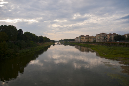 panoramas: View of the firenze riverside some old stone bridges and historical building panoramas