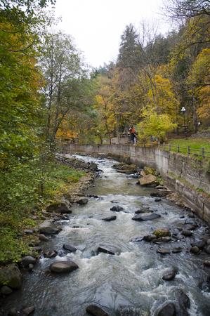 Riverside of the Park Borjomi Natural Water source in georgia Landscape View