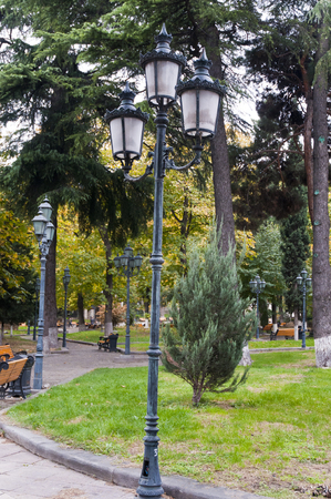 Lamp post and Green color park side in tbilisi city georgia