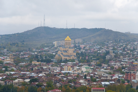 Holy Trinity Cathedral of Tbilisi View of City Landscape in Georgia Stock Photo