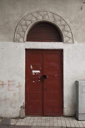Red Old circle door in Tbilisi city center georgia