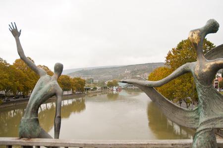 Statue on the bridge over Mtkvari (Kura) River,Tbilisi, Georgia