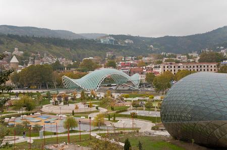 Rike Park Glass architecture bridge and tunnel in tbilisi georgia