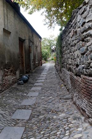 Old granite stone streets in vintage style   Tbilisi ,Georgia Stock Photo