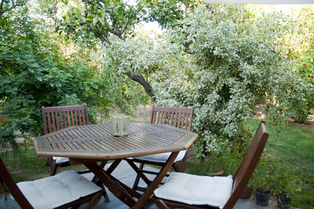 Small Hotel Garden Wooden Chairs and table  Bodrum,Turkey