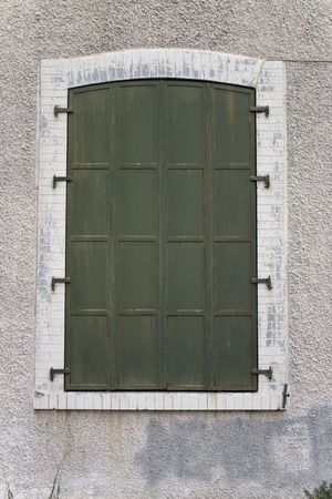 historical building: Old Green Iron Windows in Historical Building in izmir Turkey