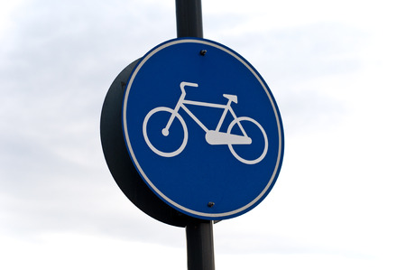 Blue Bicycle Road sign Table for information on traffic