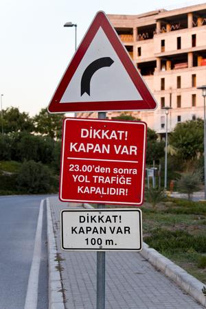 No turning right warning in the outdoor road turkey izmir