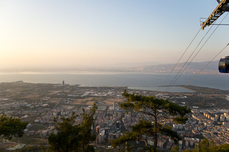 View of the cable car and izmir landscape  in teleferik mountain balcova