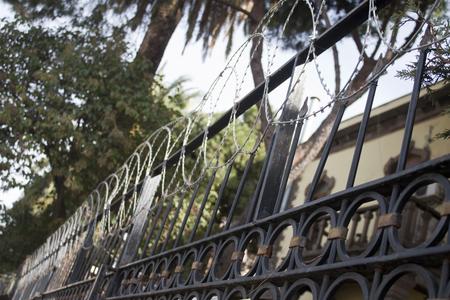 Old summer house protect for razor fence for criminal izmir,turkey