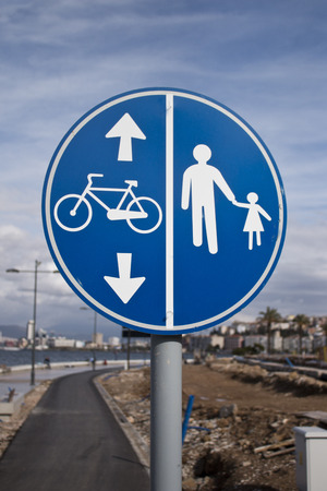 Walking and bike road sign on the seaside of the izmir city ,Turkey