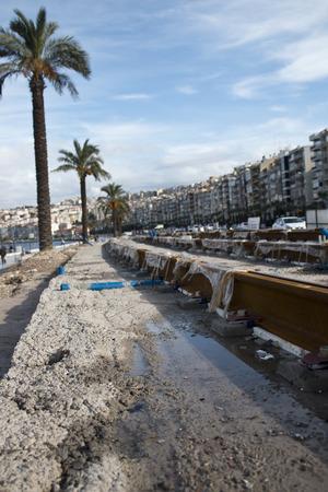 Tram construction area railroad in seaside of the izmir city Turkey Stock Photo