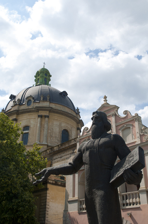 Statue Ivan Fedorov on the old city square   Lviv,Ukraine
