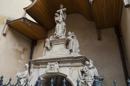 Tombstone sculptures near Latin cathedral in Lviv Ukraine