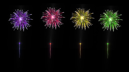 celebration day with colored fireworks