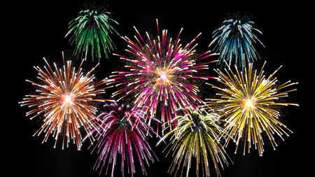 colorful pyrotechnics show background