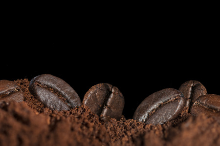 coffee beans isolated on black