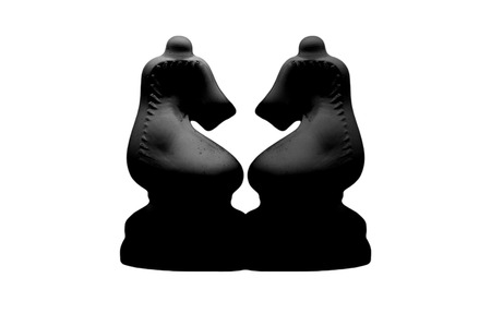 duality: black knights chess pieces