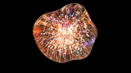 viscosity: firework reflection into the drop of water