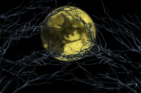 halloween witch flying over moon