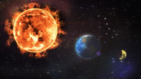 lunar eclipse: lunar eclipse obscuration 3D rendering