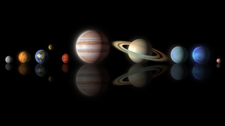 planets of the solar system isolated on black