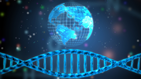 DNA helix and digital hologram of the earth