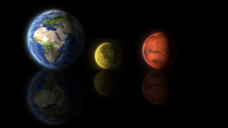 Earth Moon and Mars planets