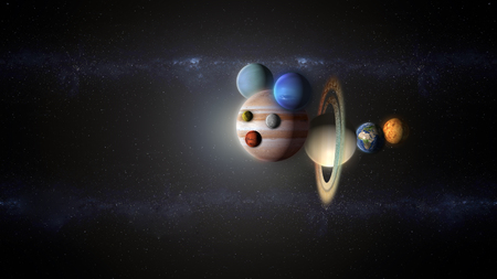 galactic puppet of planets flying into the space