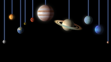 planets of the Solar System clean black background Stock Photo