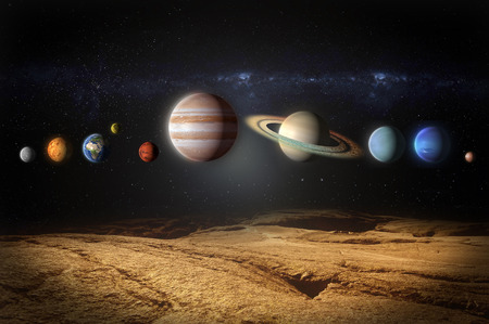 planets of the solar system aligned view from rocky planet