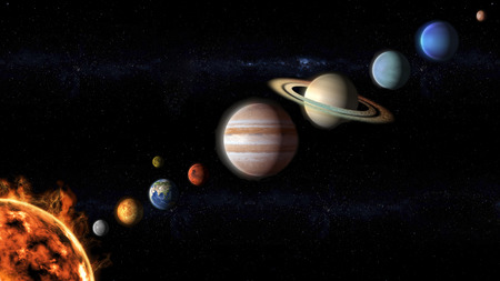 planets of the Solar System view from space Stock Photo