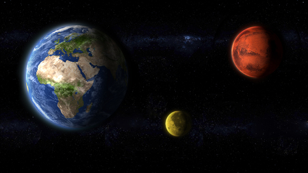 planet Earth, Moon and Mars, the red planet