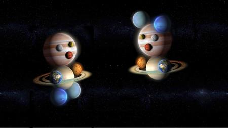 Bambini di pianeti che giocano nello spazio, galassia astratta Archivio Fotografico - 76577339
