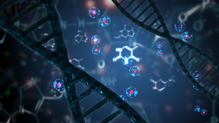genetics research background with dna helix and cells Stock Photo